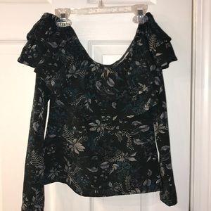 Off the shoulder patterned shirt